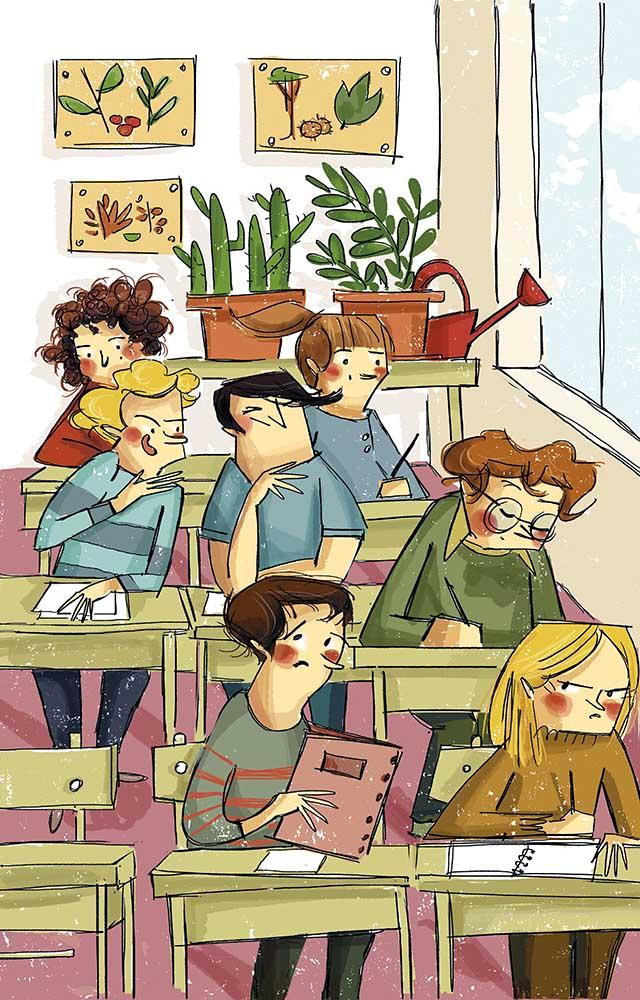 Il·lustració d'una novel·la juvenil.