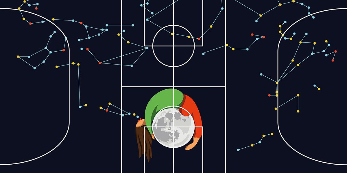 Il·lustració d'una xiqueta bufant les constel·lacions per pintar un camp de futbol