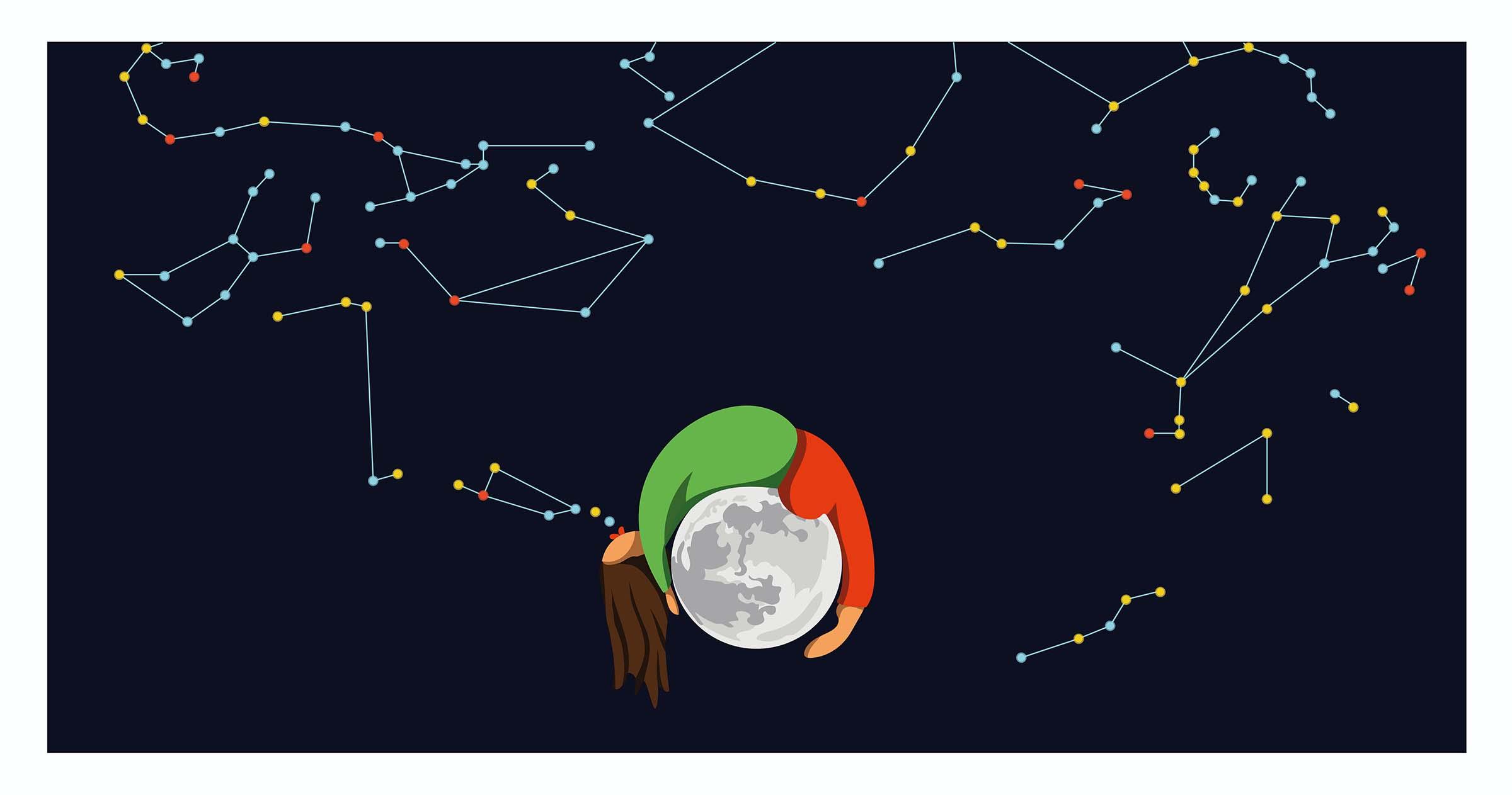 Xiqueta bufant les constel·lacions